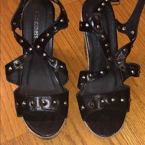 Shoes - Black studded wedges